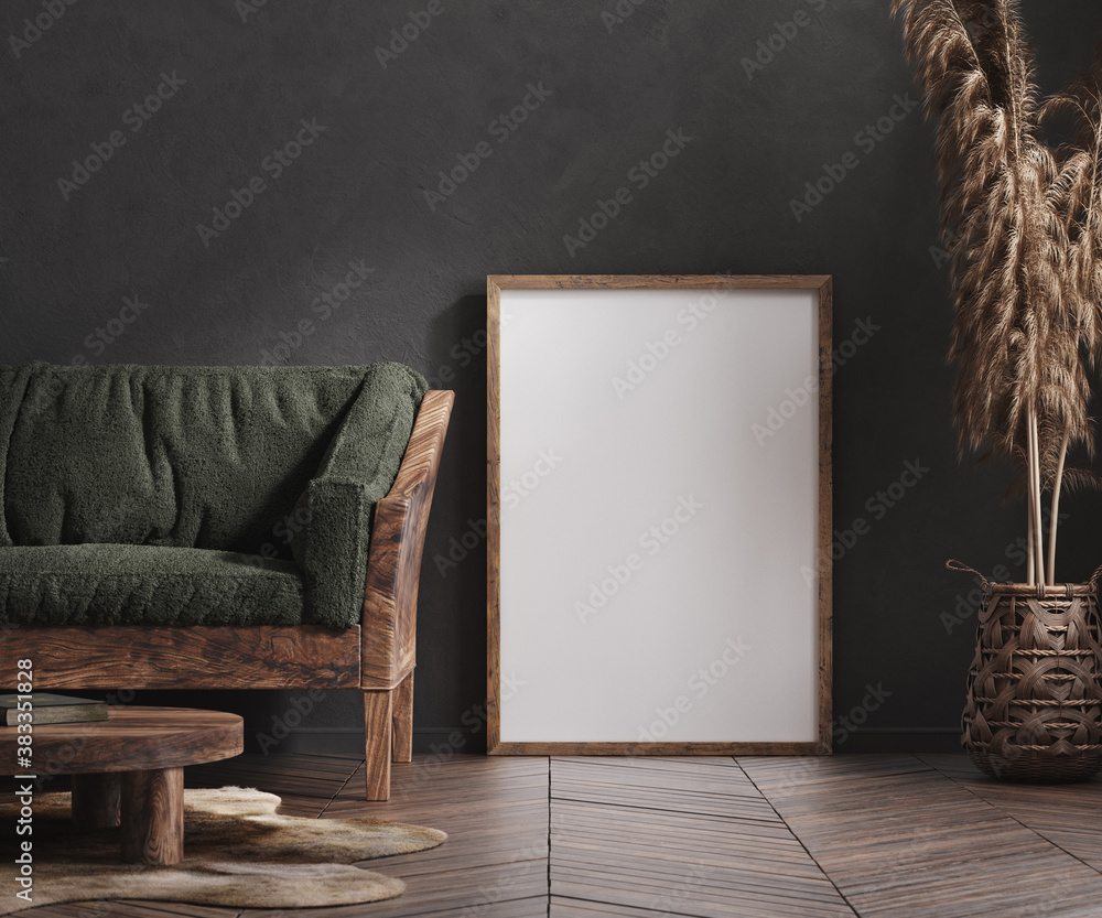Fototapeta Mock up poster frame in living room interior, ethnic style, 3d render
