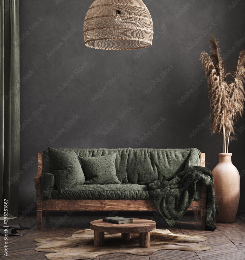 Fototapeta Living room interior, ethnic style, 3d render