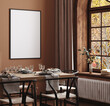 canvas print picture Mock up frame in cozy modern dining room interior, 3d render
