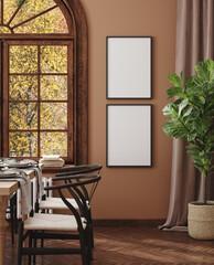 Fototapeta Boks Mock up frame in cozy modern dining room interior, 3d render