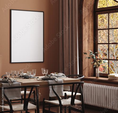 Fototapeta Mock up frame in cozy modern dining room interior, 3d render obraz