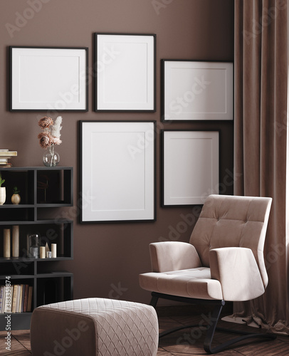 Mock up posters gallery in cozy modern home interior background, 3d render