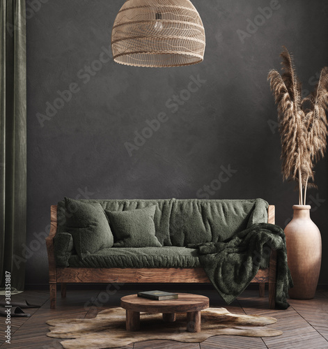 Living room interior, ethnic style, 3d render