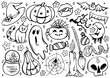 Halloween coloring page with spooky objects, hand drawn cute Halloween coloring sheet