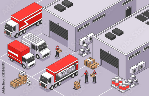 Obraz Warehouse Site Logistics Composition - fototapety do salonu