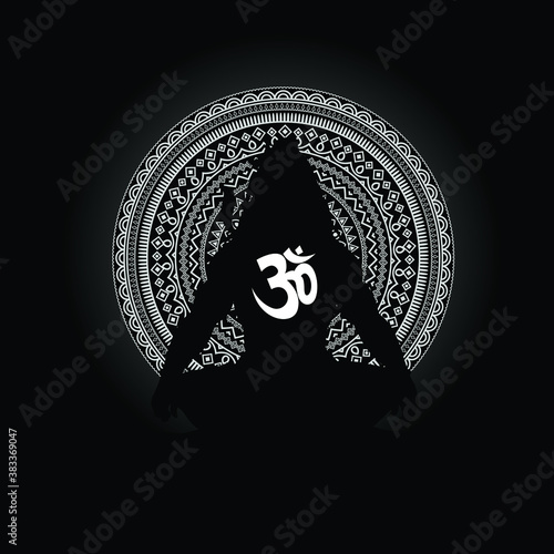 Obraz na płótnie Lord mahadev vector graphic trendy silhouette design with om and mandala background, lord Shiv graphic trendy tattoo or tshirt design art