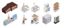 Bakery Isometric Icons Set