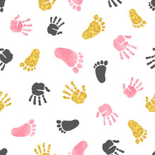 Seamless Pattern With Kids Palm Hand And Foot Prints. Baby Shower Vector Illustration.