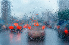 Raindrops On A Windshield In R...