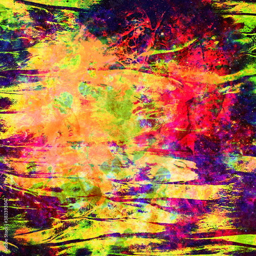 Fototapety, obrazy: Grunge abstract colorful Background with mud. Watercolor multicolor  dirty pattern. Brushed Painted  texture. Mixed colors. Fluid colored rust. Digital virus. Diffusion and color dispersion.