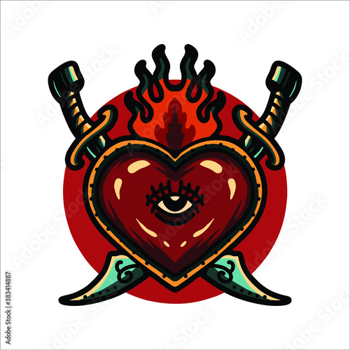 heart and swords tattoo vector design Fototapeta