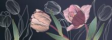 Luxury Pink Tulips Background Vector With Golden Metallic Decorate Wall Art