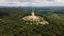 Aerial View Phra Maha Chedi Chai Mongkol Or Phanamtip Temple, Roi Et Province , Thailand.