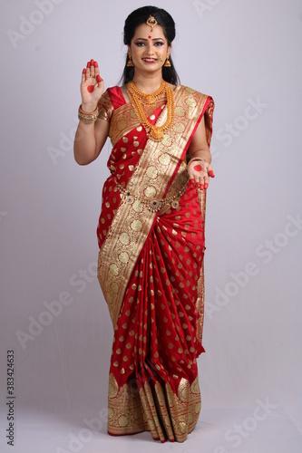 Vászonkép Indian Godess of prosperity / Lakshmi isolated on white.