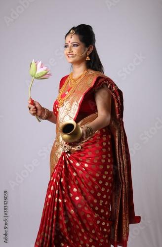 Fényképezés Indian Godess of prosperity / Lakshmi isolated on white.