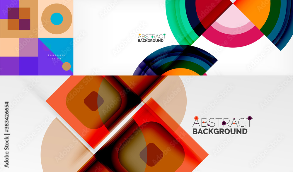 Collection of stylish geometric abstract backgrounds for covers, banners, flyers and posters and other templates