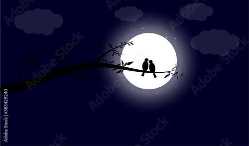 Love Birds in moonlight Illustration Canvas