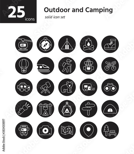 Fotografija Outdoor and Camping solid icon sel. Vector and Illustration.