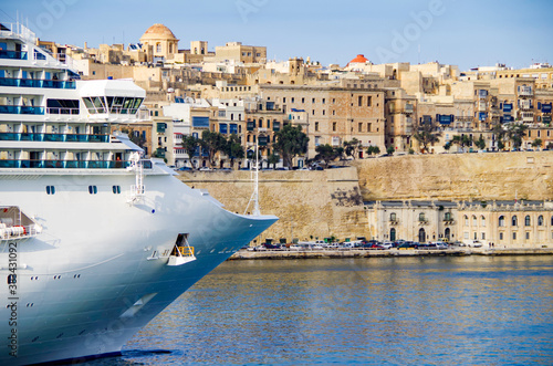 Modern Costa cruiseship or cruise ship liner departure from Valletta on Malta is Canvas