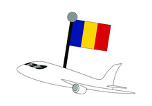 Airplane With Flag Of Romania Vector Illustration. Suitable For Travelling Business And Travel Or Holiday Theme.