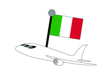 Airplane With Italy Flag Vecto...