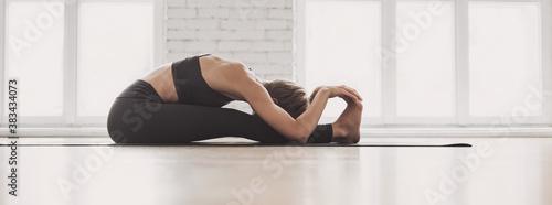 Fotografía Young beautiful woman practicing yoga near floor window in yoga studio panoramic banner