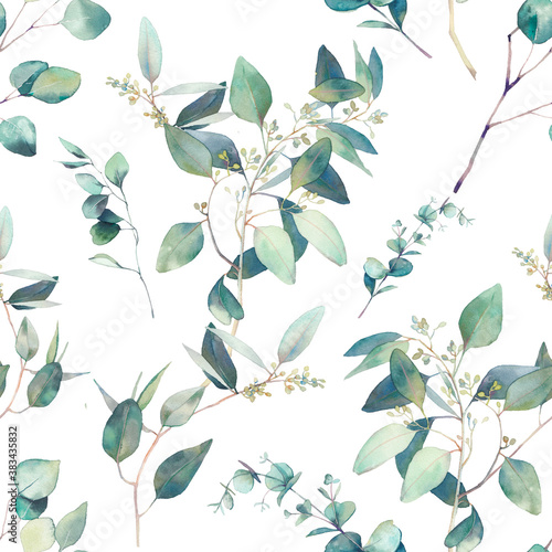 Fototapeta Watercolor eucalyptus seamless pattern. Hand painted floral texture with plant objects on white background. Natural wallpaper obraz