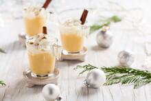 Eggnog With Cinnamon And Nutmeg For Christmas And Winter Holidays.