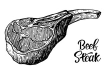 Beef, Pork Or Lamb Red Meat Hand Drawn Sketch. Engraved Raw Food Illustration. Butcher Shop Product. Prime Rib Steak Vector Illustration. Vintage Style,can Be Used For Logo, Label, Restaurant Menu