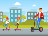 Summer Outdoor Activities, Children Riding Kick Scooter, Young Man Riding Hoverboard on City Street Cartoon Vector Illustration