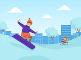 Boy Dressed in Winter Clothing Snowboarding in Winter Landscape, Outdoor Activity During Winter Holidays Vector Illustration
