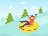 Boy Dressed in Winter Clothing Riding Snow Tube, Winter Sports and Activities Concept Vector Illustration