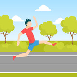 Young Man Jogging or Running in Park, Guy Dressed in Sportswear Taking Part in Sports Competition, Outdoor Morning Workout, Healthy Active Lifestyle Vector Illustration