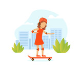 Cute Girl Riding Skateboard on City Street, Outdoor Morning Workout Vector Illustration