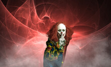 Creepy Halloween Clown In Front Of Abstract Background With Gesture To Mouth
