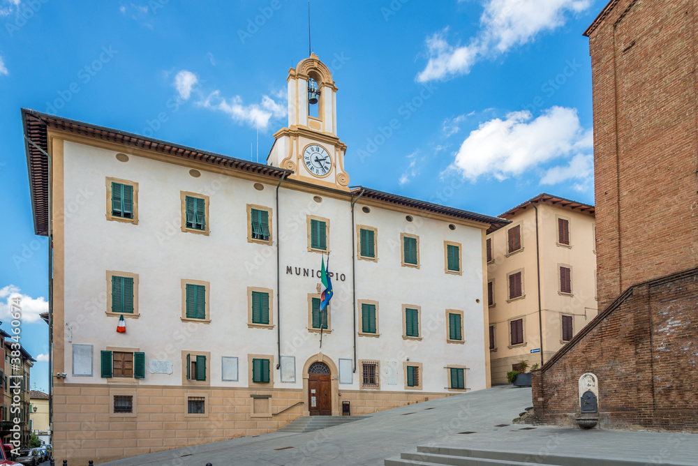 View at the building of Town hall in Castelfiorentino, Italy