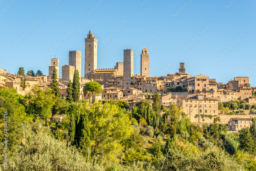 View at the top hill with Town of San Gimignano - Italy