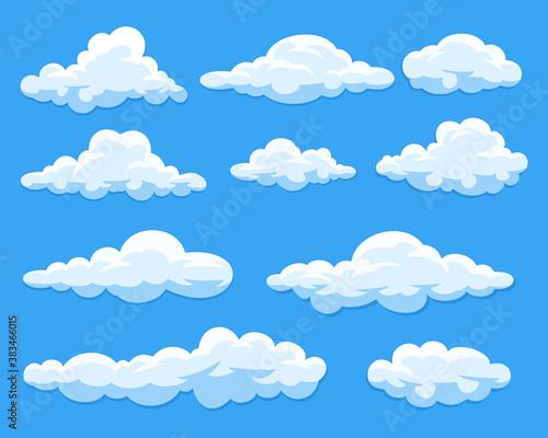 Obraz na plátne Set of cartoon clouds