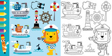 Sailing Theme Cartoon, Cargo Ships With Funny Lion, Coloring Book Or Page