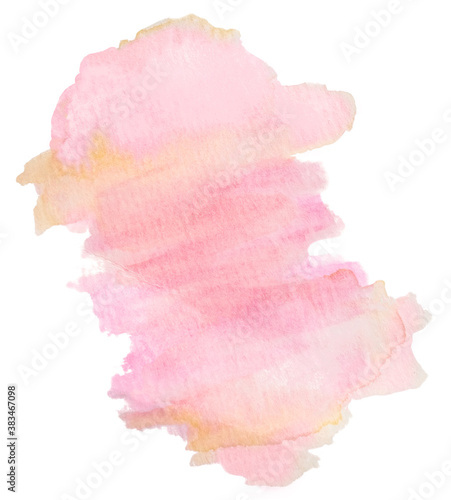 Photo Delicate girly abstract pink textured watercolor stain isolated on white background