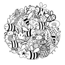 Cute Bees In The Flowers Circle Shape Pattern. Funny Insects Coloring Page