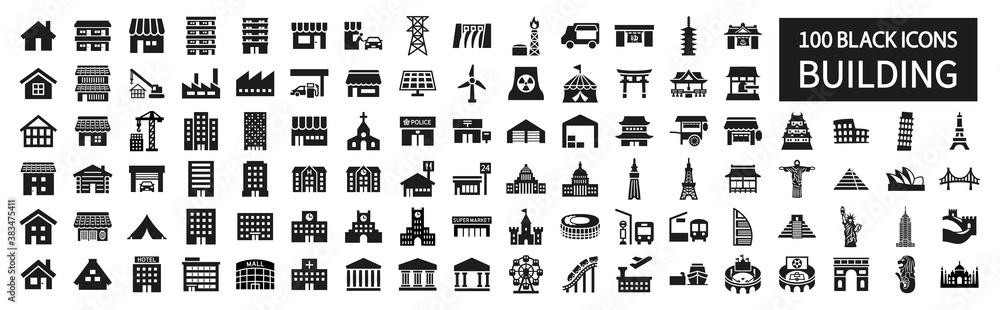 Fototapeta Building icon set 100 around the world