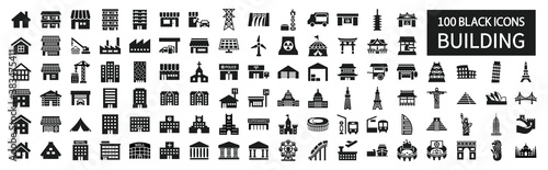 Fényképezés Building icon set 100 around the world