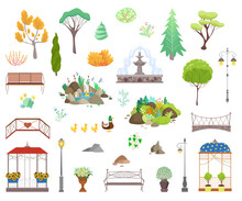 Park Decor Elements Vector Illustration Set. Cartoon Flat City Park Garden Landscape Items Collection Of Street Light Lamps And Benches, Fountain Decoration, Gazebo Among Trees Icons Isolated On White