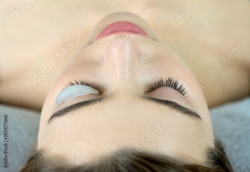 Close up of beauty model's face with perfect fresh skin and long eyelashes, lash lift laminate botox procedure Canvas-taulu