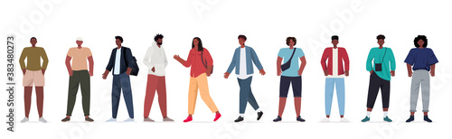 Fototapeta set young men in casual trendy clothes african american male cartoon characters collection full length horizontal vector illustration obraz