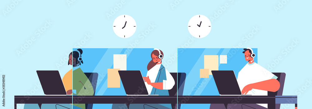 Fototapeta operators with headset chatting with clients call center agents working in office customer support service concept horizontal portrait vector illustration