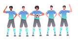 mix race footbal players standing together soccer team ready to start the match horizontal full length vector illustration