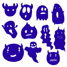 Little Halloween Ghost. Demon Face. Cute Character. Cartoon Style. Clipart Collection. Isolated On White Background. Vector Illustration.