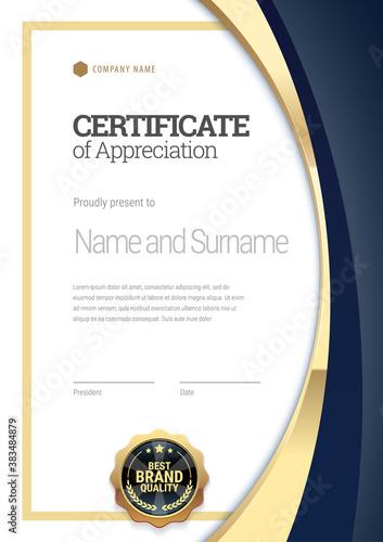 Fototapeta Certificate template. Diploma of modern design or gift certificate. Vector illustration. obraz
